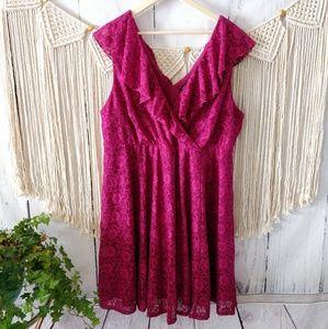 Torrid Magenta Berry Lace Design Surplice Dress 3x